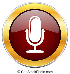 Microphone red web icon with golden border isolated on white...