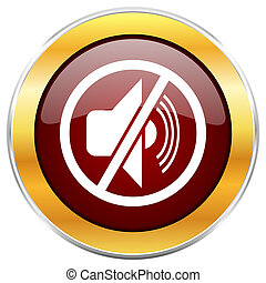 Mute red web icon with golden border isolated on white background. Round glossy button.