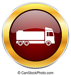 Truck red web icon with golden border isolated on white background. Round glossy button.