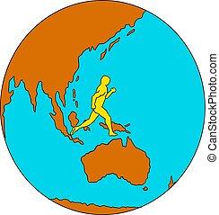 Marathon Runner Running Around World Drawing