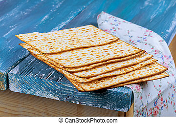 Jewish Holiday Passover background with matzoh on vintage...