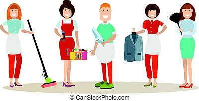 Cleaning people vector illustration in flat style - Vector...