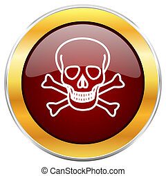 Skull red web icon with golden border isolated on white...