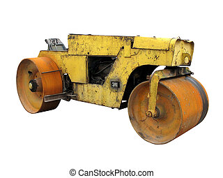Old rusty yellow road roller isolated over white background