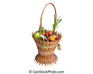 wooden basket with autumn harvest fruit vegetables isolated