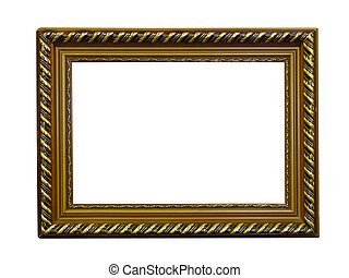 Old antique gold frame with pattern