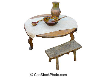 antique handmade wooden furniture isolated over white