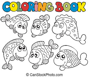 Coloring book with crazy fishes - vector illustration.