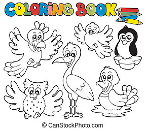 Coloring book with cute birds 1 - vector illustration