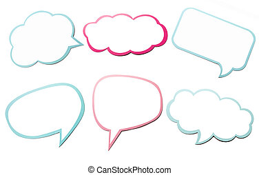 Colorful set of different speech bubble as a cloud isolated...