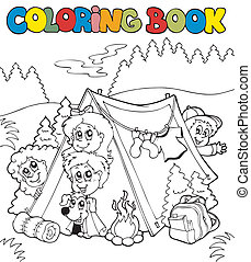 Coloring book with camping kids - vector illustration