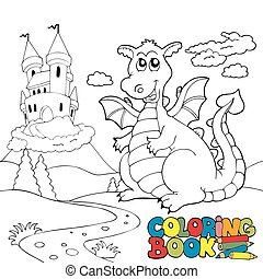 Coloring book with big dragon 2 - vector illustration.