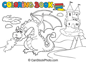 Coloring book with big dragon 3 - vector illustration.