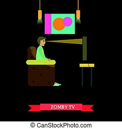 TV zombie concept vector illustration in flat style - TV...
