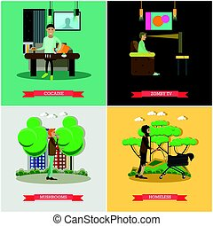 Vector set of bad habits concept posters in flat style -...