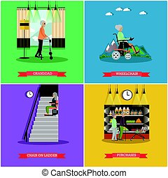 Vector set of aged people posters in flat style - Vector set...