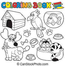 Coloring book with pets 1 - vector illustration.