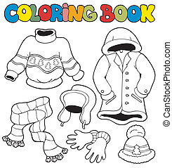 Coloring book with winter clothes - vector illustration.