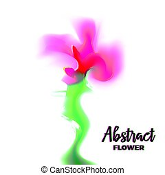 Abstract glitch flower with distorted petal gradient and...