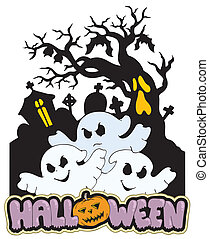 Halloween sign with three ghosts 2 - vector illustration.