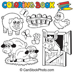 Coloring book with farm animals 2 - vector illustration.