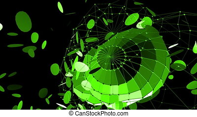 Abstract green waving 3D grid or mesh of pulsating geometric objects. Use as fantasy background. Green geometric vibrating environment or pulsating math background. Flying polygons
