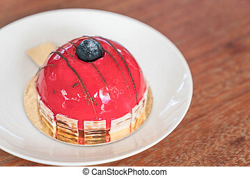 Rasberry Mousse Cake on plate - dessert