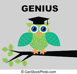 genius - illustration of a green genius owl