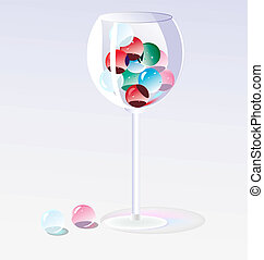 glass beads in a glass - on a light background glass with...