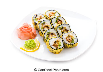 Tempura maki - Image of tempura maki sushi with pickled...