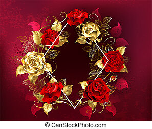 rhombus with roses - White contour rhombus with gold and red...