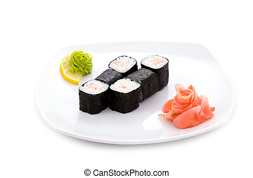 Ebi hosomaki - Image of ebi hosomaki sushi with pickled...