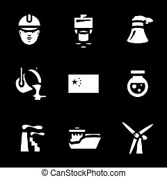 Vector Set of China Industry Icons. - Builder, pile dipping,...