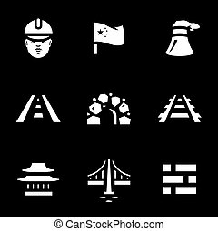 Vector Set of China Construction Icons. - Builder, flag,...