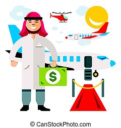 Vector Airport. Landing on the flight. Flat style colorful Cartoon illustration.