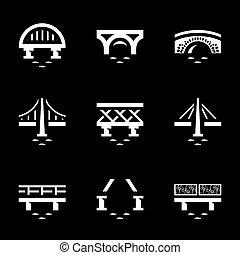 Vector Set of Various Bridges Icons. - Metal, concrete,...