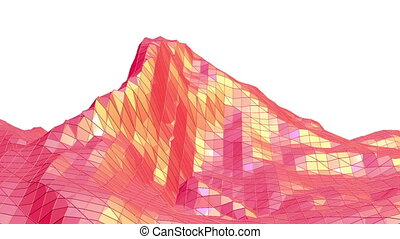 Abstract red low poly surface as complexity background in...