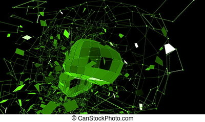 Abstract green waving 3D grid or mesh of pulsating geometric objects. Use as futuristic relief. Green geometric vibrating environment or pulsating math background. Flying polygons