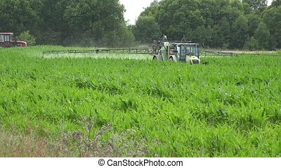 tractor spray maize with pesticide herbicide near road. -...