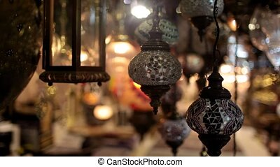 the market sold chandeliers - sold in the market are Turkish...