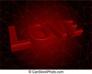 Vector 3d love text on red background.