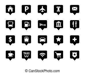 Navigation, direction, maps, traffic icons set - Vector...