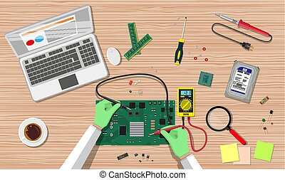 Engineer with multimeter check electronic board - Hands of...