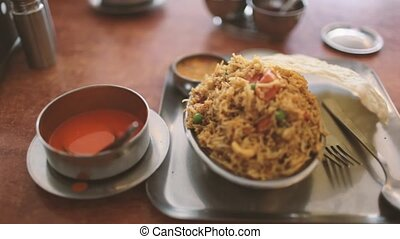 the food in vegetarian restaurants - girl eats food in...