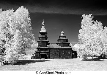 The Old wood ortodox church at The Great (Veliky) Novgorod,...