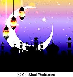 Arabian night - Ramadan Kareem greeting. Arabian nights...