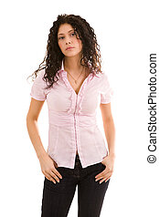 Feminine woman - Image of young female with dark hair posing...