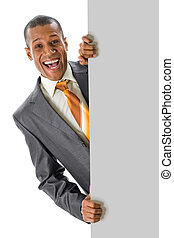 Announcement - Image of joyful businessman peeping out of...