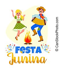 Latin American holiday, the June party of Brazil. Vector...