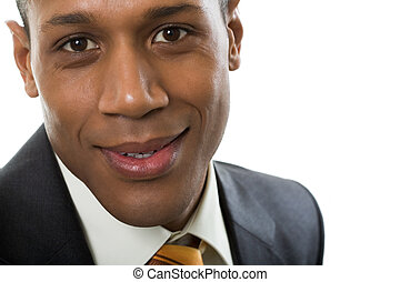 Smiling guy - Face of happy Afro American businessman...